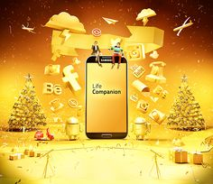 Samsung Galaxy on Behance Banks Advertising, Creative Advertising, Advertising Design, Ad Design, Layout Design, Graphic Design, Creative Artwork, Creative Posters, Sale Banner