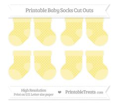 Pastel Yellow Dotted Pattern  Small Baby Socks Cut Outs