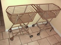 Two Art Deco Vintage Folding Metal Shopping Cart Grocery Laundry Industrial | eBay $1200