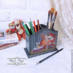 """Купить Карандашница """"Рыжий кот"""" - рыжий, карандашница, карандашница декупаж, карандашница деревянная, короб для хранения"""