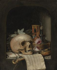 Simon Renard de Saint-André PARIS 1614 - 1677 VANITAS STILL LIFE WITH A WREATHED SKULL, A POCHETTE VIOLIN AND BOW, A DECK OF CARDS, A MUSICAL SCORE, A PAIR OF DICE, A BOX INSCRIBED 'POUDRE DE CIVET,' TWO ROSES, AN HOURGLASS AND A SNUFFED-OUT CANDLE IN A STONE NICHE oil on canvas