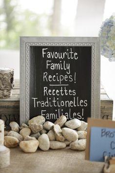 Love this family recipe idea! http://www.stylemepretty.com/canada-weddings/ontario/ottawa/2013/10/24/danford-lake-wedding-from-studio-g-r-martin-photography/ | Photography: Studio G. R. Martin - http://www.martinphotography.ca/