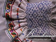 Ukraine, from Iryna Embroidery Needles, Hand Embroidery Stitches, Embroidery Fashion, Embroidery Applique, Embroidery Designs, Punto Smok, Fabric Manipulation, Sleeve Designs, Smocking