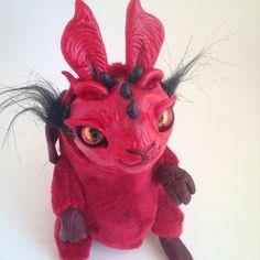 MONSTER STUFFED ANIMAL Baby Red China Dragon Ooak by FoxyMocksy