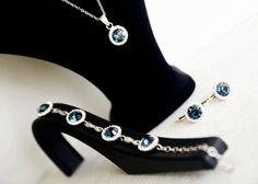 art deco clear crystal swarovski rhinestone navy blue by sestras