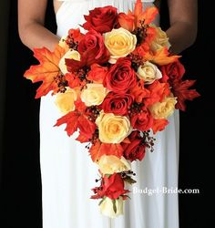cascading fall wedding bouquets pictures with red | Atlas Collection