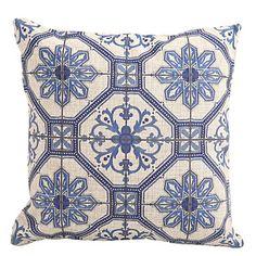 """Createforlife ® 18 """"Blå och vita mönster Dekorativa Cotton Linen Square Örngott Kuddfodral  – SEK Kr. 206"""