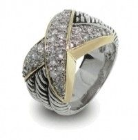Designer Inspired .925 Sterling Silver Triple Cable Style Diamond CZ Ring
