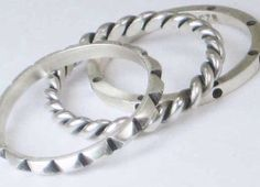 Textured Rings Silver Set of 3 Hand Crafted by HollyPresley