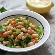 A bright and delectable Lemon Cannellini Bean Salad with Celery and Paprika. Healthy and delicious, plus a snap to make! Allergy Free Recipes, Vegetarian Recipes, Healthy Recipes, Easy Recipes, Cannellini Bean Salad, Healthy Snacks, Healthy Eating, Clean Eating, Bean Salad Recipes