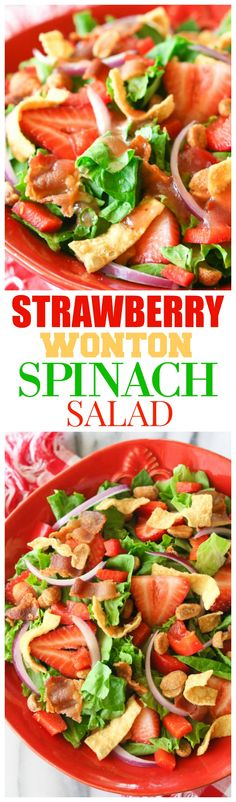 Strawberry Wonton Spinach Salad is filled with red bell peppers, onions, honey roasted peanuts, bacon, and crunchy wontons. I love taking this Strawberry Wonton Salad to potlucks or BBQs. It's always a hit! Fun Easy Recipes, Popular Recipes, Whole Food Recipes, Easy Meals, Cooking Recipes, Summer Recipes, Cooking Tips, Entree Recipes, Appetizer Recipes