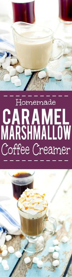 Homemade Caramel Marshmallow Coffee Creamer recipe - Light and creamy marshmallow and decadently sweet caramel swirl together to make this Homemade Caramel Marshmallow Coffee Creamer perfect for your next cup of coffee. Sounds like coffee creamer heaven! Homemade Coffee Creamer, Coffee Creamer Recipe, Coffee Drinks, Coffee Cups, Espresso Coffee, Coffee Coffee, Ninja Coffee, Coffee Blog, Coffee Meets Bagel