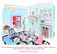 KATE SPADE STORE, London, watercolored by Caitlin Mcgauley