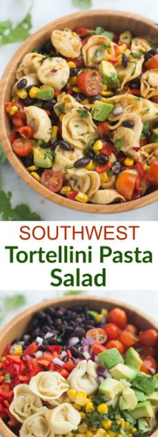 Replace tortellini with black bean pasta for dairy free. Southwest Tortellini Pasta Salad - Tastes Better From Scratch Pasta Recipes, Salad Recipes, Dinner Recipes, Cooking Recipes, Recipe Pasta, Spinach Recipes, Cooking Tips, Chicken Recipes, Ramen Recipes