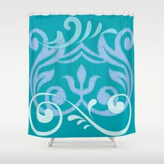 island wave blue  Shower Curtain by Drape Studio - $68.00- see all products with this vintage mod design in our shops www.cafepress.com/drapestudio and www.society6.com/drapestudio and www.zazzle.com/drapestudio and www.etsy.com/shop/drapestudio OR visit our main site www.drapestudio.com