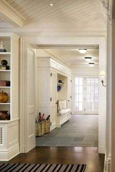 10 Tips How To Build A Lightweight House Decoration Design Beautiful entryway with mudroom built-ins surrounding a bench with white seat … The Best of home design ideas in Decoration Entree, Flower Decoration, Slate Flooring, Kitchen Flooring, Slate Floor Kitchen, Home And Deco, Luxury Interior Design, Style At Home, Home Fashion