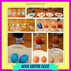 Kool Aid Dyed Easter Eggs can be a fun alternative to traditional egg dye kits.  I think not knowing exactly what color each egg will turn out is half of the fun!