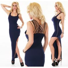 22352S Μάξι Φόρεμα με σκίσιμο Σκούρο Μπλε