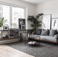 Scandi living room with grey accents. Are you looking for unique and beautiful art photo prints to create your gallery walls? Follow us on Instagram: @bx3foto and visit: bx3foto.etsy.com