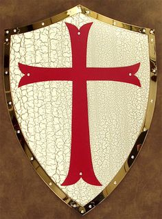 Templar Knight's Shield w Red Cross and Crackle Finish
