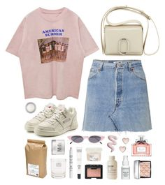 """""""American Summer"""" by sophiehackett ❤ liked on Polyvore featuring Reebok, RE/DONE, Christian Dior, MAKE UP FOR EVER, Le Labo, Davines, Law of Sleep, Davidson's, Illesteva and Bare Escentuals"""