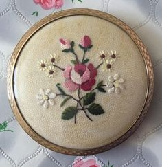 Vintage Stratton powder compact mirror Stratton compact petite point compact 1950s Stratton compact in hand bag mirror embroidered compact by DaynartVintage on Etsy