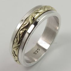 925-Solid-Sterling-Silver-TWO-TONE-5-mm-Wide-Designer-Band-Ring-Size-Selectable