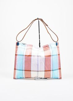 eb2caaacb4b2 Celine Multicolor and Brown Canvas and Leather Plaid