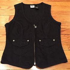 weekend sale Harley Davidson black vest Black jean jacket with lace up bottom back. Sleeveless. Rhinestone bling and studs. Harley-Davidson Jackets & Coats Jean Jackets