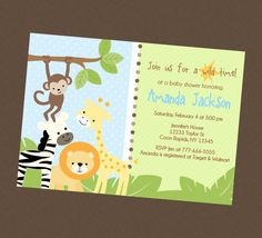 Jungle Safari Baby Shower Invitation by BriezeesBoutique on Etsy, $12.99