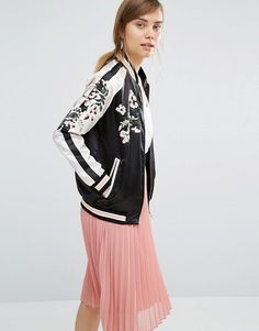 Vero Moda | Vero Moda Satin Embroidered Bomber Jacket