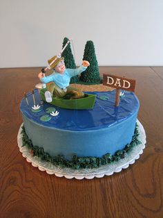 """Fishing Cake - I made this for my father-in-law who loves fishing. The trees are ice cream cones covered in stars and the lake is piping gel tinted blue. I used the Wilton """"Frustrated Fisherman"""" cake topper. Cupcakes, Cake Cookies, Cupcake Cakes, Beautiful Cakes, Amazing Cakes, Gone Fishing Cake, Fishing Cakes, Fisherman Cake, Fish Cake Birthday"""