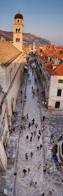 Main street of Dubrovnik a city on the Adriatic Sea coast of Croatia.I would love to go back to Dubrovnik one day! Places Around The World, Oh The Places You'll Go, Travel Around The World, Places To Travel, Travel Destinations, Places To Visit, Around The Worlds, Travel Tips, Montenegro
