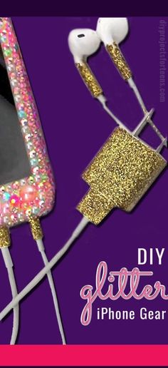 Cool DIY Crafts Made With Glitter - Sparkly, Creative Projects and Ideas for the Bedroom, Clothes, Shoes, Gifts, Wedding and Home Decor | Glitter Your IPhone Gear | http://diyprojectsforteens.com/diy-projects-made-with-glitter/