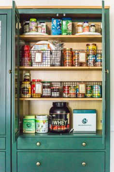 IKEA Hemnes Pantry Cabinet Organization - Bless'er House IKEA Hemnes Pantry Cabinet Organization - Tips and ideas for maximizing storage and creating function for food storage in a cabinet to repurpose as a pantry. Deep Pantry Organization, Pantry Storage Cabinet, Kitchen Cabinet Organization, Pantry Ideas, Ikea Organization, Ikea Food Storage, Ikea Storage Cabinets, Organization Station, Kitchen Pantry Design