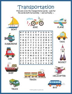 Help beginning readers learn the names and spelling of 12 transportation vocabulary words with this colorful and fun word search worksheet. The words are hidden in the letter grid and may be placed horizontally or vertically (no diagonal, backwards, or English Worksheets For Kids, English Lessons For Kids, Kids English, Preschool Worksheets, Learn English, English Activities For Kids, Transportation Worksheet, Transportation Activities, Learning Activities