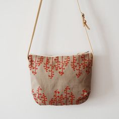 Rope colour fabric shoulder bag hand printed with secret