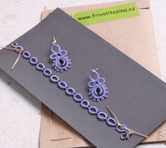 Pendientes y cordón violetas, de frivolité. Tatting Bracelet, Tatting Earrings, Tatting Jewelry, Needle Tatting, Tatting Lace, Yarn Needle, Tatting Patterns, Needlework, Creations