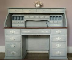 **Roll Top Desk Makeover** Refurbished Furniture, Paint Furniture, Repurposed Furniture, Furniture Projects, Furniture Making, Home Projects, Desk Makeover, Furniture Makeover, Secretary Desks