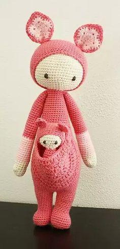 Ravelry: & - lalylala crochet pattern N? VII - Kangaroo pattern by Lydia Tresselt Love Crochet, Crochet For Kids, Diy Crochet, Crochet Crafts, Yarn Crafts, Crochet Baby, Crochet Projects, Crochet Amigurumi, Amigurumi Patterns