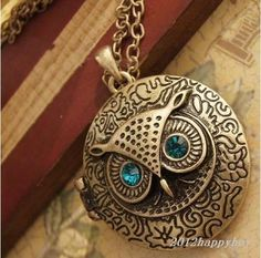 Vintage bronze owl blue eyes round phase box can open necklace sweater chain