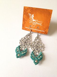 Turquoise Hippie-chic Macrame earrings boho bohemian hippie gypsy woodland elf knotted micromacrame
