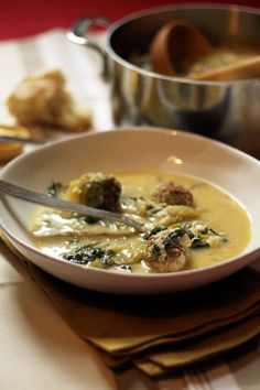 Soup Recipe: Italian Wedding Soup,,,,,very adaptable.  Serve with pasta and/or crusty bread.  Add veggies if you like.
