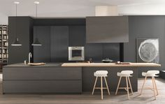 Modern and Contemporary Kitchen Cabinets Design Ideas 53 Kitchen Cabinet Design, Kitchen Interior, Kitchen Decor, Kitchen Furniture, Kitchen Ideas, Contemporary Kitchen Cabinets, Modern Kitchen Design, Black Kitchens, Home Kitchens