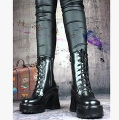 Womens Round Toe Lace Up Motorcycle Ankle Boots Block High Heel Moto Biker Shoes