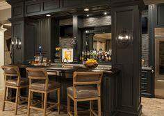 black #Bar---great for a #gameroom masculine & classic--designer Martha O'Hara Interiors