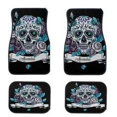 Sugar Skull Car Mats Black Teal Diamond  Personalized Custom With Your Name Great Gift FULL set Teal Or Red Roses