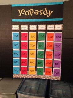 Just finished my reusable jeopardy board pockets made with card another jeopardy board example solutioingenieria Images
