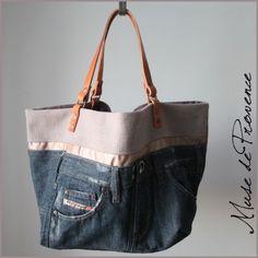 sac cabas de créatuer en patchwork de jeans 1