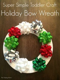 Holiday Bow Wreath.  12 Christmas Crafts for Kids to Make This Week || The Chirping Moms #toddlerchristmascraft